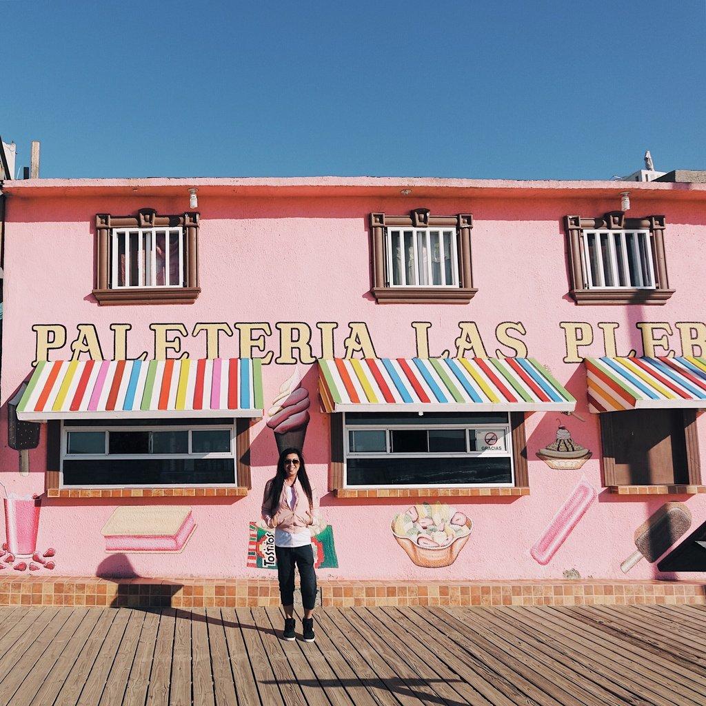 Betty enjoying the beach sidewalk in Playas de Tijuana